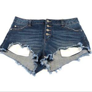 Pants - Distressed High Waist Button Fly Denim Short Short